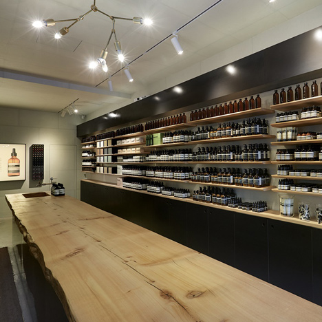 Aesop's first shop in Seoul features recycled pine and blackened-steel fittings