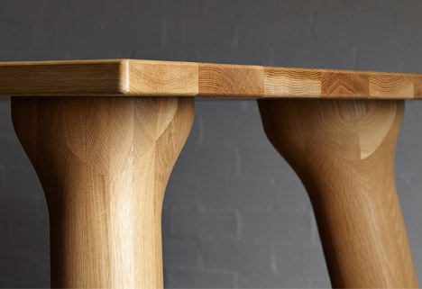Daasts Big Foot table sits on chubby wooden legs