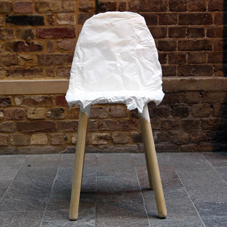 Ryan Jongwoo Choi's Crumpled Chair is moulded over wrinkled metal