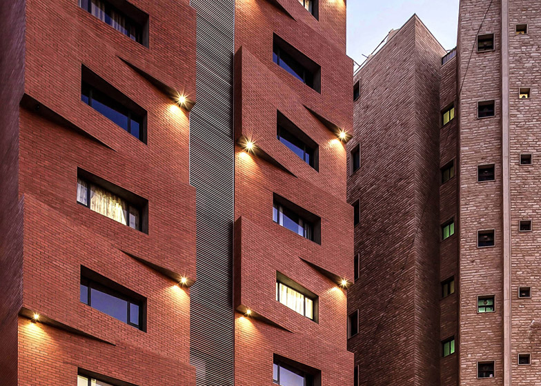 Edges Apartments resembles a tower of offset brick blocks