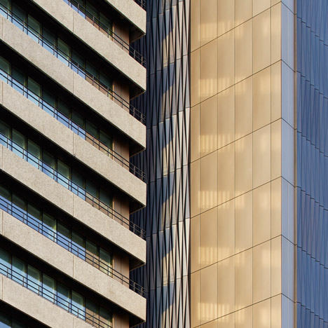 "Penoyre & Prasad reclads ""ugly"" London hospital tower with origami-like skin"