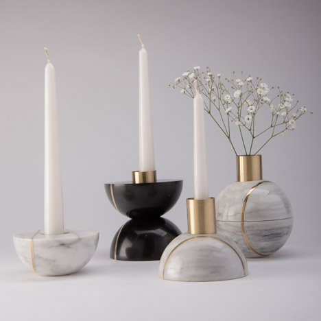 This month's Christmas inspired theme of the month explores the themes of candlelight: Marble candle holder by Peca can be split to create two object. Image via: http://www.dezeen.com/tag/candle-holders/