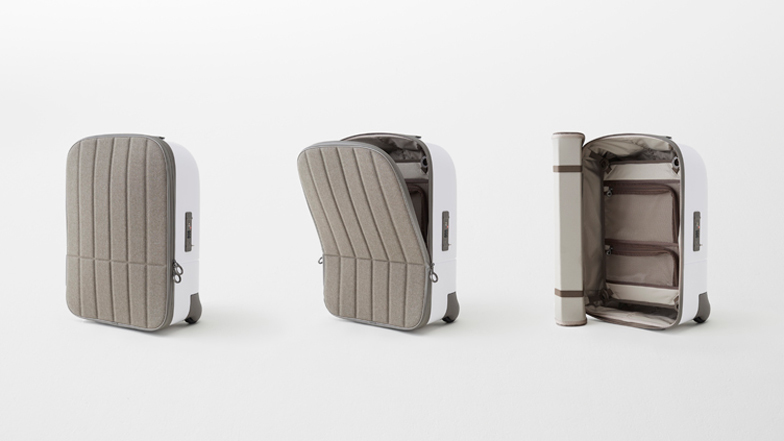 Nendo's cabin baggage has a hard shell and a soft front like a ...