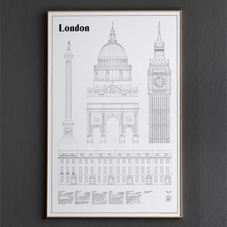 London Landmarks and Elevations posters by Studio Esinam