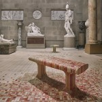 Raw Edges installs dye-soaked wooden floor across 19th-century sculpture gallery