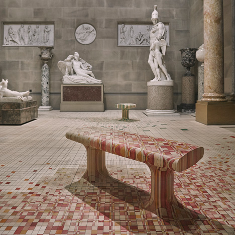 Raw Edges installs dye-soaked wooden floor<br /> across 19th-century sculpture gallery