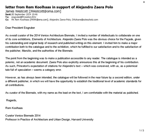 Rem Koolhaas email to Princeton president Christopher Eisgruber in support of Alejandro Zaera-Polo