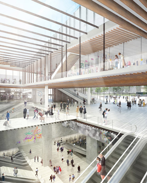Saint-Denis Pleyel railway station by Kengo Kuma