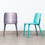 Arik Levy's colourful chairs for TON have legs that split in two