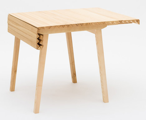 Epic Wooden Cloth table by Nathalie Dackelid