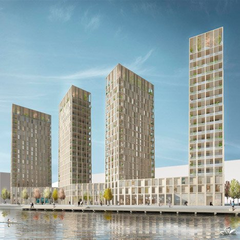 Tham & Videgård designs wooden residential towers for Stockholm waterfront