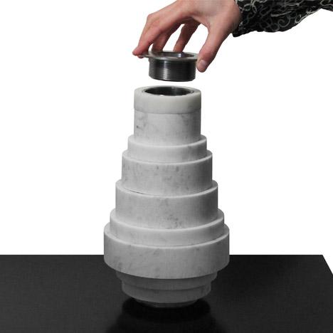 aNoi marble vase by Moreno Ratti