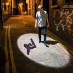 Shadowing streetlight records and projects pedestrian movements