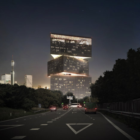 OMA wins Amsterdam RAI hotel job with stacked-triangle design