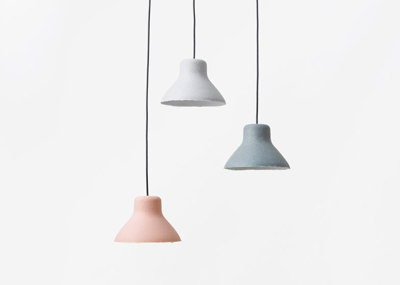 Bi-color Washi lamp designed with Taniguchi Aoya Washi