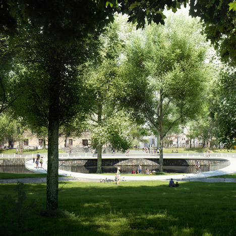 Designs revealed for carbon-fibre bridge across a Gothenburg moat