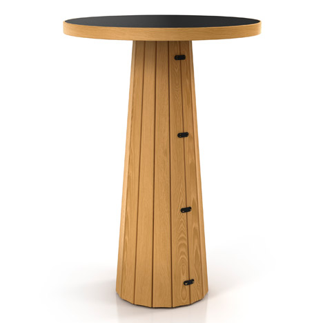 Container Table Bodhi 10030 Natural Oak Linoak Nero Top by Marcel Wanders