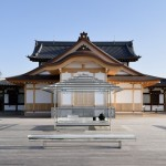 Tokujin Yoshioka installs glass tea house beside an ancient Japanese temple
