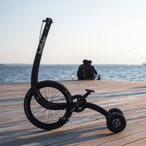 Halfbike II is a pedal-powered vehicle for navigating city streets