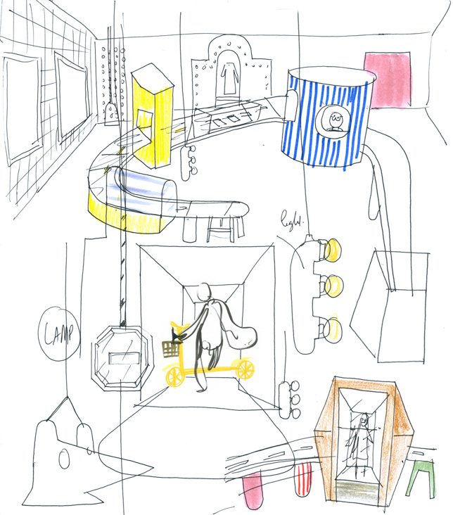 Sketch of Jaime Hayon's Citysurfer installation