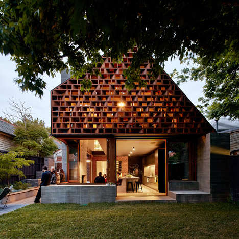 Make Architecture adds perforated wooden facade to renovated and extended Melbourne house