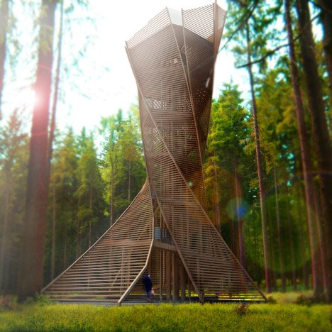 Twisting observation tower could be built in a northern Italian forest