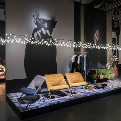 Moooi's Milan show featured huge photographs, live music and a giant unicorn rocking horse