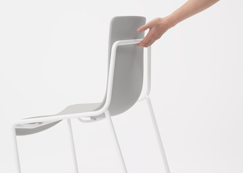 Offset-frame chair by Nendo