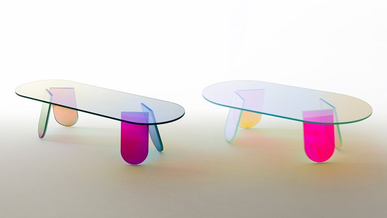 Patricia Urquiola coats transparent furniture for Glas Italia with an iridescent sheen