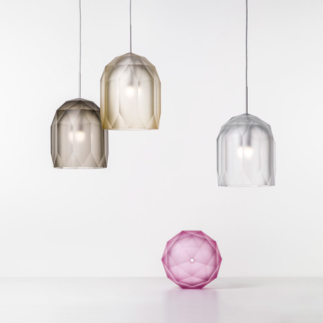Polygons pendants combine computer modelling with Czech glass cutting