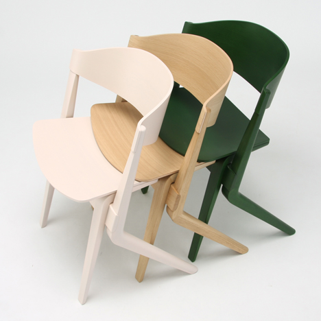 Karimoku New Standard's wooden chairs stack like supermarket trolleys