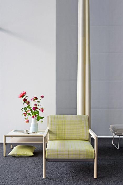 Scholten & Baijings upholsters Herman Miller seating in gridded fabric