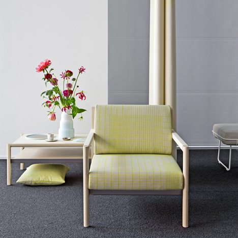 Scholten & Baijings upholsters Herman Miller seating in gridded fabric