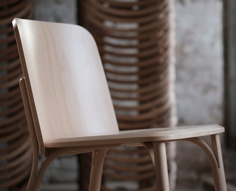 Split bent-wood chair by Arik Levy for TON