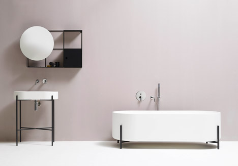 Felt shelf, Hat lamp, and Stand bathtub and basin by Norm Architects for Ex.T
