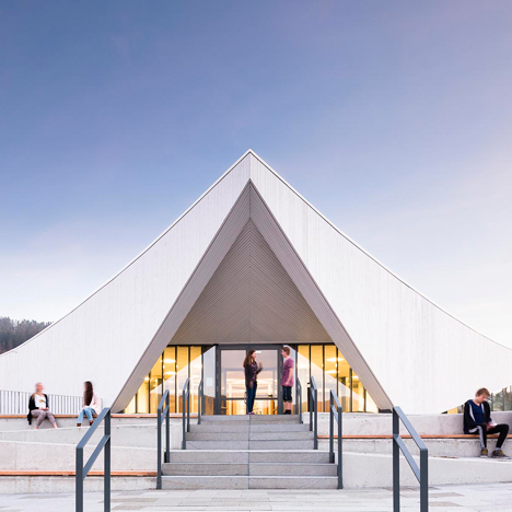 Ålgård Church by Link Arkitektur features a concave vaulted roof