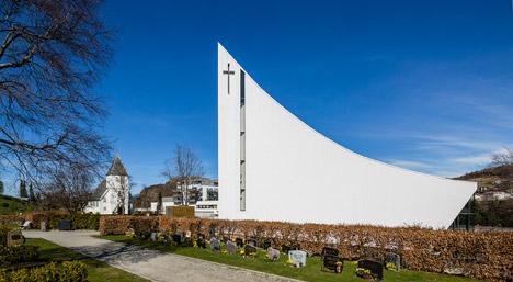 3Novices:Ålgård Church by Link Arkitektur features a concave ...