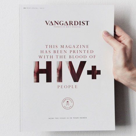 Vanguardist magazine printed with the blood of HIV+ people