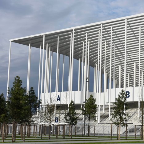 Herzog & de Meuron's Bordeaux Stadium is framed by a forest of slender columns