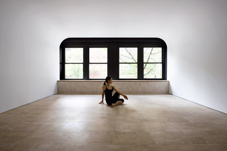 Walls create the illusion of endless space inside a yoga