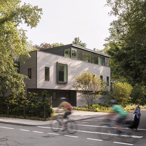 Massachusetts home by Anmahian Winton features a facade of ipe wood and zinc