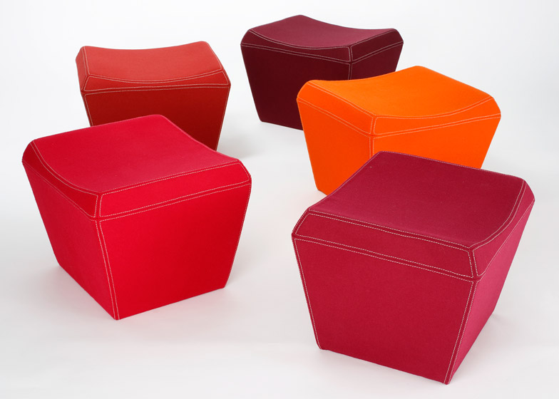 Felt Fin Ottoman by David Weeks