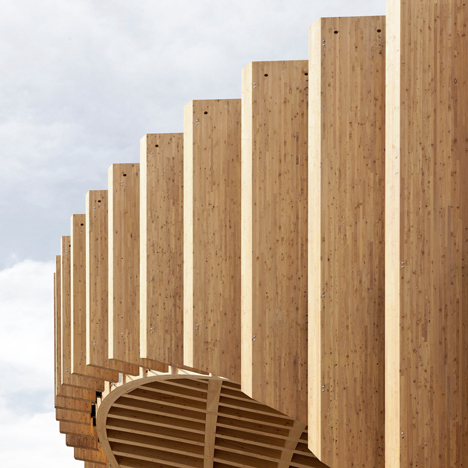 France's Expo pavilion is a wooden lattice with plants and food slotted into its crevices