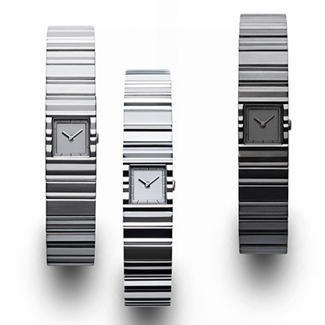 Tokujin Yoshioka's V watch for Issey Miyake is a rippled metal bracelet