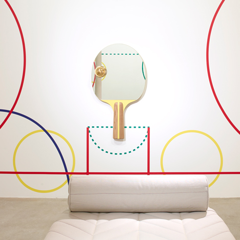Jaime Hayón's collection for Galerie Kreo includes a mirror shaped like a table-tennis bat