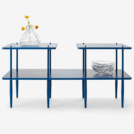 Legs protrude through tabletops in Assembly Design's L Series