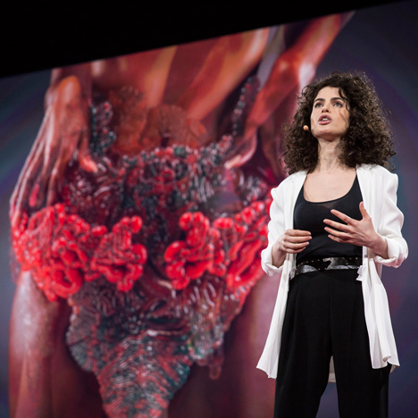 "Neri Oxman 3D prints ""photosynthetic wearable"" to host living organisms"