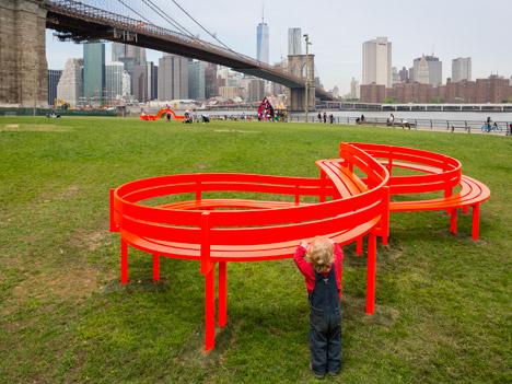 Please Touch the Art by Jeppe Hein on Brooklyn Bridge