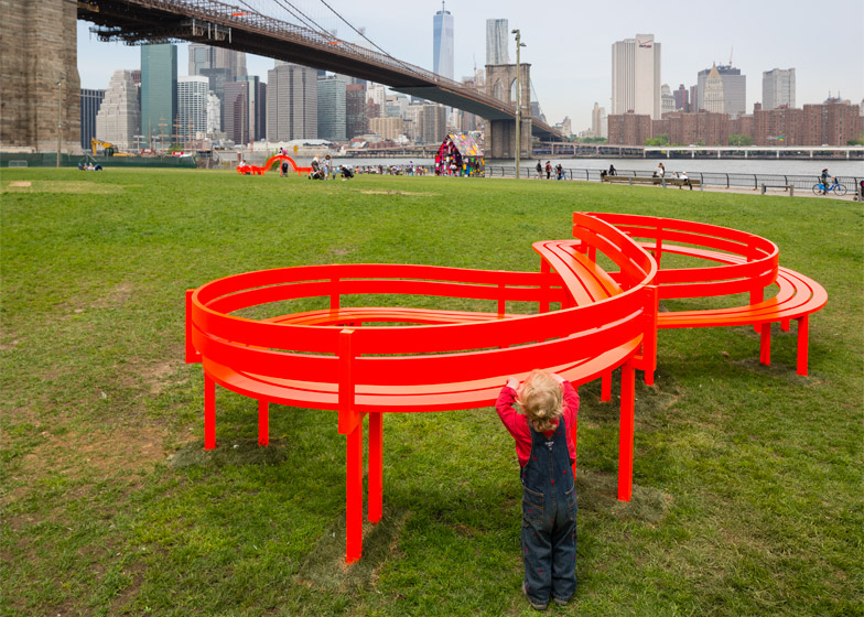 Please Touch the Art by Jeppe Hein on Brooklyn Bridge