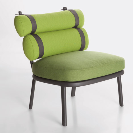 Patricia Urquiola straps cushions to Roll chair for Kettal